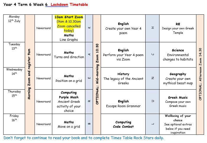 Lockdown timetable